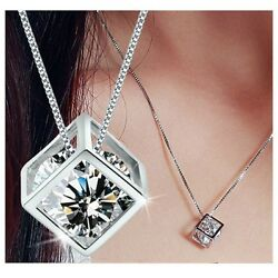 Heart Women#x27;s 925 Sterling Silver Chain Crystal Rhinestone Pendant Necklace Gift