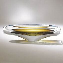 Turquoise Beige Long Art Glass Decorative Bowl | Modern European Abstract Thick