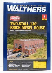N Scale Walthers Cornerstone 933-3266 Two-stall 130' Brick Diesel House Kit