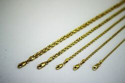 14k Solid Gold Yellow Rope Chain Necklace 1.5mm 5mm 16 30 For Men Women