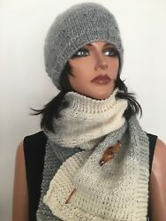 Hand Knits 2 Love Hat Shawl Set Beanie Slouch Cap Scarf Ombre Designer Fashion