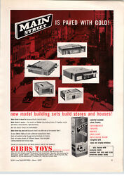 1957 Paper Ad Gibbs Toys Main Street Construction Building Toy Play New Model