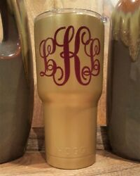 Personalized Powder Coated Tumbler With Classic Monogram Decal. Choose Colors.