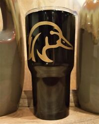 Personalized Powder Coated Tumbler With Wood Duck Decal. Choose Colors.