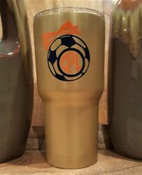 Personalized Powder Coated Tumbler With Soccer Ball, Bow Monogram. Choose Colors