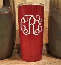 Personalized Powder Coated Tumbler With Vine Monogram Decal. Choose Colors.