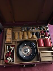 Vintage Abercrombie And Fitch Roulette, Chess, Bakelite Dominoes And Cribbage.