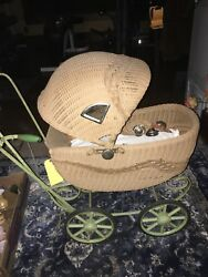 Vintage Wicker Doll Baby Carriage Buggy Stroller Green Color