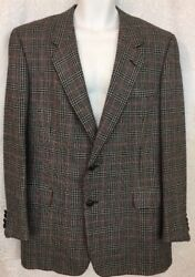 Bijan Jacket Black Red And Gray Wool Blend To Button No Vents Size 42 Regular