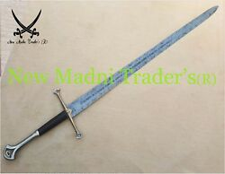 52 Damascus Anduril Lord Of Ring Long Sword With Free Leather Sheath