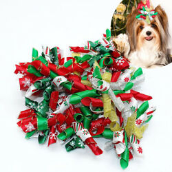 1050100pcs Wholesale Pet Cat Dog Christmas Hair Bows Accessories Dog Grooming