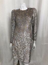 Michael Kors Sheer Sequined Dress Size Silver 6 (S)