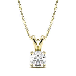 1ct I1/hi Natural Round Diamond 18k Yellow Gold Solitaire Pendant Necklace