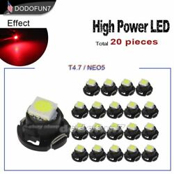 20pc Red T5 T4.7 Neo Wedge Led for A/C Climate Heater Control Bulbs Lamp Light