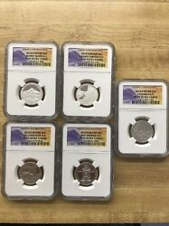 2010-s Silver Atb Quarter 5 Coin Set-ngc Pf70 Ultra Cameo-banned Labels Rare