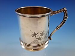 Whiting Sterling Silver Baby Childand039s Cup Mug Brite-cut Ivy Vintage Antique 188a