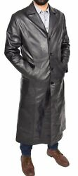 Mens Long Leather Coat Full Length Black Leather Trench Mac Crombie Overcoat New