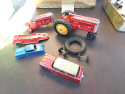 Vintage Hubley Jr Farm Tractor Red Die Cast Toy Truck And Tootsie,midgetoy Parts
