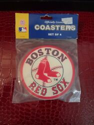 BOSTON RED SOX 4 PACK VINYL COASTER SET FROM DUCKHOUSE SPORTS Retired Design