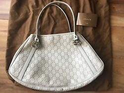 GUCCI shoulder BAG handbag off-white grey GUCCISSIMA leather with RECEIPT