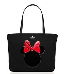 New Kate Spade Disney Minnie Mouse Red Bow Black Francis Tote Purse Bag