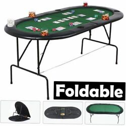 Poker Table 73 Folding Top 8 Players Casino Game W/ Chip Trays Drink Holders