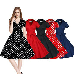 Women Vintage Dress 50S 60S Swing Pinup Retro Casual Housewife Party Ball