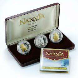 New Zealand Set Of 3 Coins 1 Dollar Narnia Lion Witch Wardrobe Proof 2006