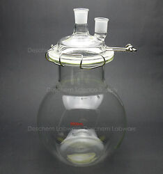 5000ml,glass Reaction Vessel,5l,24/29,2-neck,flat Bottom Lab Reactor,lid And Clamp