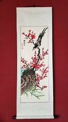 Flower Chineseblossom and Bird Singing Scroll Painting