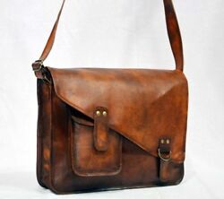 Leather Vintage Messenger Shoulder Men#x27;s Satchel And Laptop School Briefcase Bag $55.00