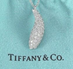 5k And Co Frank Gehry 18k White Gold Pave Diamond Fish Pendant Necklace