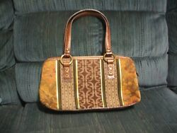Fossil Tapestry Handbag Browns amp; Greens with Gold amp; f Logo Pattern