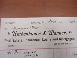 Vintage Letterhead Umbenhauer And Wanner Real Estate Reading Pa 12/18/1902