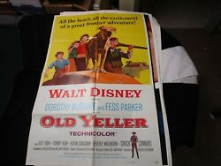 1 Sheet Movie Poster Old Yeller 1974 Chuck Connors Jeff York Tommy Kirk Rerealse