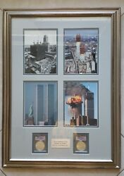 Two 2001 Wtc Ground Zero 911 American Silver Eagle 1 And Art Frame.