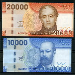 Chile 10000 And 20000 The Cotton Paper Banknotes Mint Unc. A. Bello And A. Prat