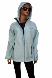 Vineyard Vines Womenand039s Stow And Go Hooded Rain Coat Jacket Crystal Blue 165.00