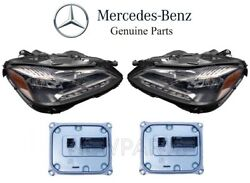 For MB W212 Pair Set Of 2 Front Headlight Assies Static LED & Control Modules