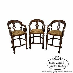 Minton Spidell Quality Set Of 3 Empire Style Burgess Barstools