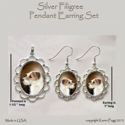 JACK RUSSELL TERRIER DOG Wire Fawn - Filigree PENDANT EARRING Set