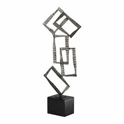 Modern Art Abstract Stacked Rectangle Sculpture Silver Black Statue Metal Marble