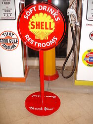 1930s 40s 50s Shell Oil Gas Station Curb Sign Lollipop