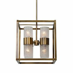 Art Deco Geometric Cube Brass Glass 8 Bulb Pendant Light  Contemporary Square