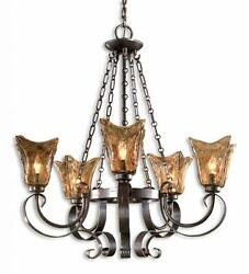 5 Light Gothic Iron And European Glass Bronze Chandelier Horchow Antique Amber