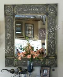 Oversize 60 Antique Embossed Metal Extra Large Wall Mirror Leaner Neiman Marcus