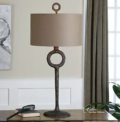 Modern Iron Sculpture Table Lamp   Contemporary Hammered Metal