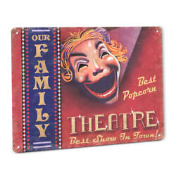 Home Theater Sign Old Vintage Style Movie Theatre Art Plaque Family Popcorn 142