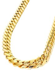 Sterling Silver 925 Yellow Gold Plated Solid Miami Cuban Chain Necklace All Size