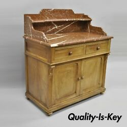 French Victorian Marble Top Backsplash Wash Stand Bathroom Commode Cabinet Stand